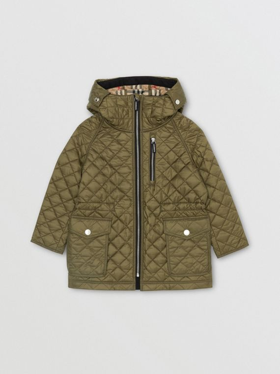 Diamond Quilted Hooded Coat in Military Olive
