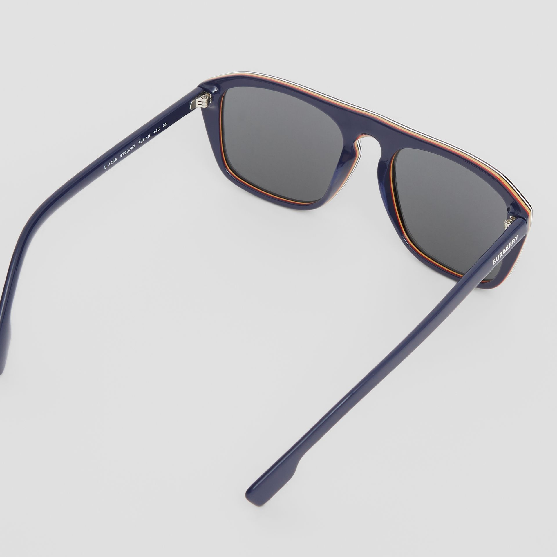 Icon Stripe Detail Square Frame Sunglasses in Blue - Men | Burberry United Kingdom - gallery image 4