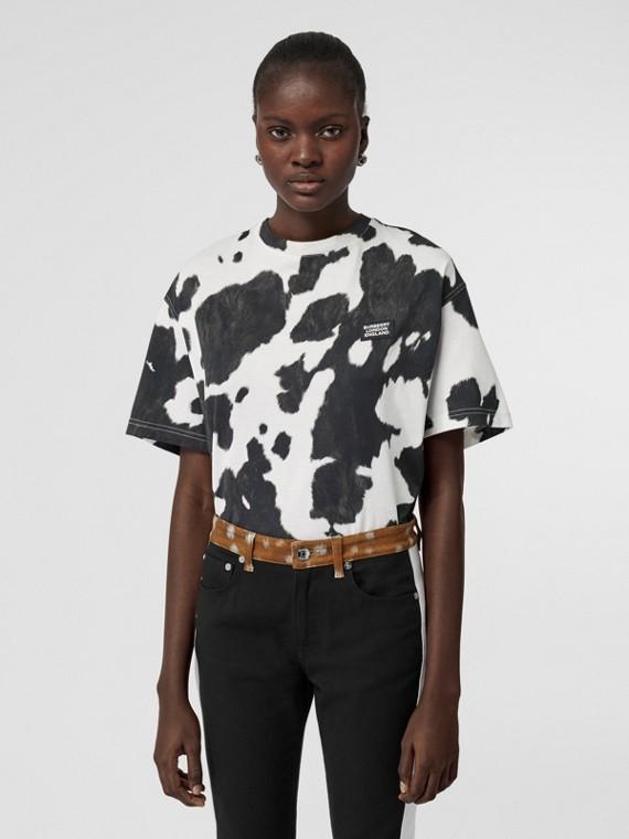 Logo Detail Cow Print Cotton Oversized T-shirt in Black