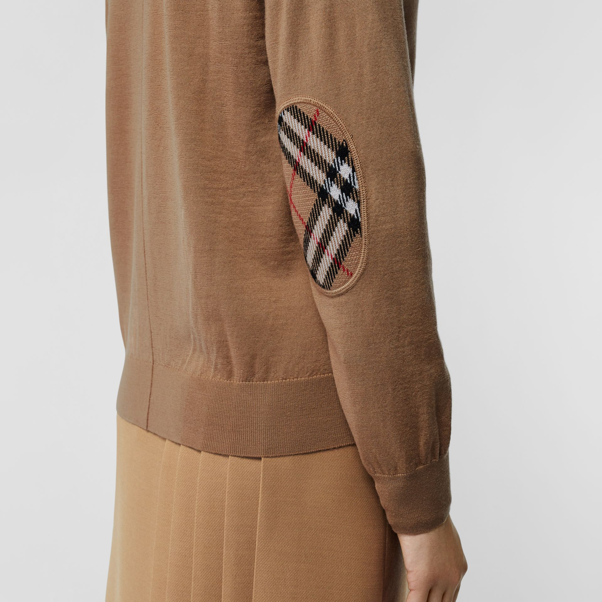 Vintage Check Detail Merino Wool Cardigan in Camel - Women | Burberry - gallery image 1