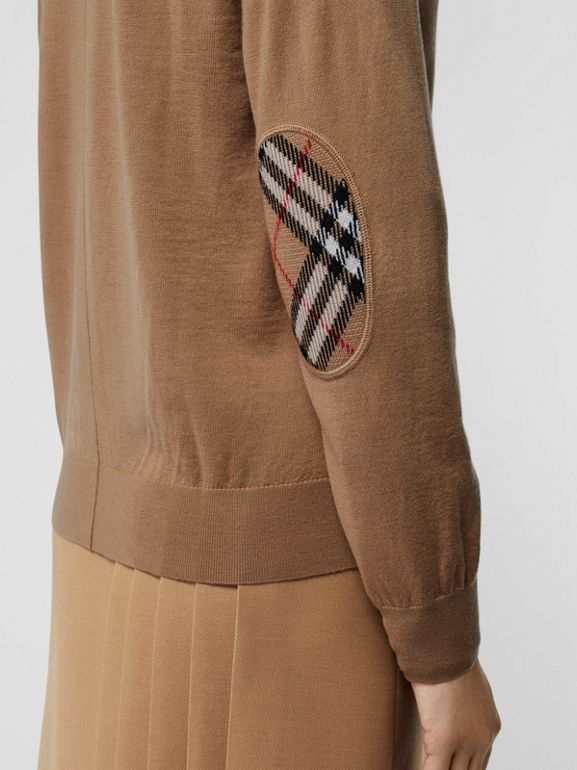 Vintage Check Detail Merino Wool Cardigan in Camel - Women | Burberry - cell image 1