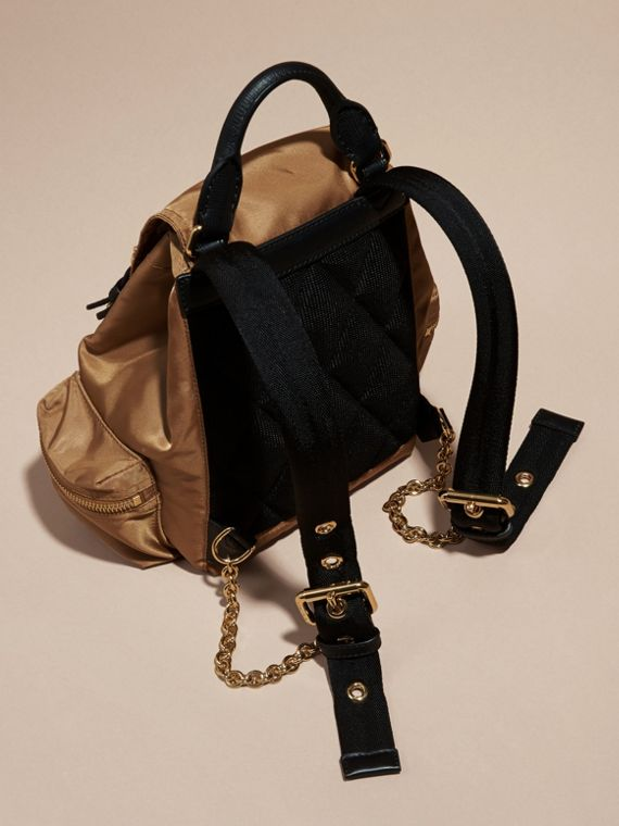 The Small Rucksack in Technical Nylon and Leather Light Flax - cell image 3