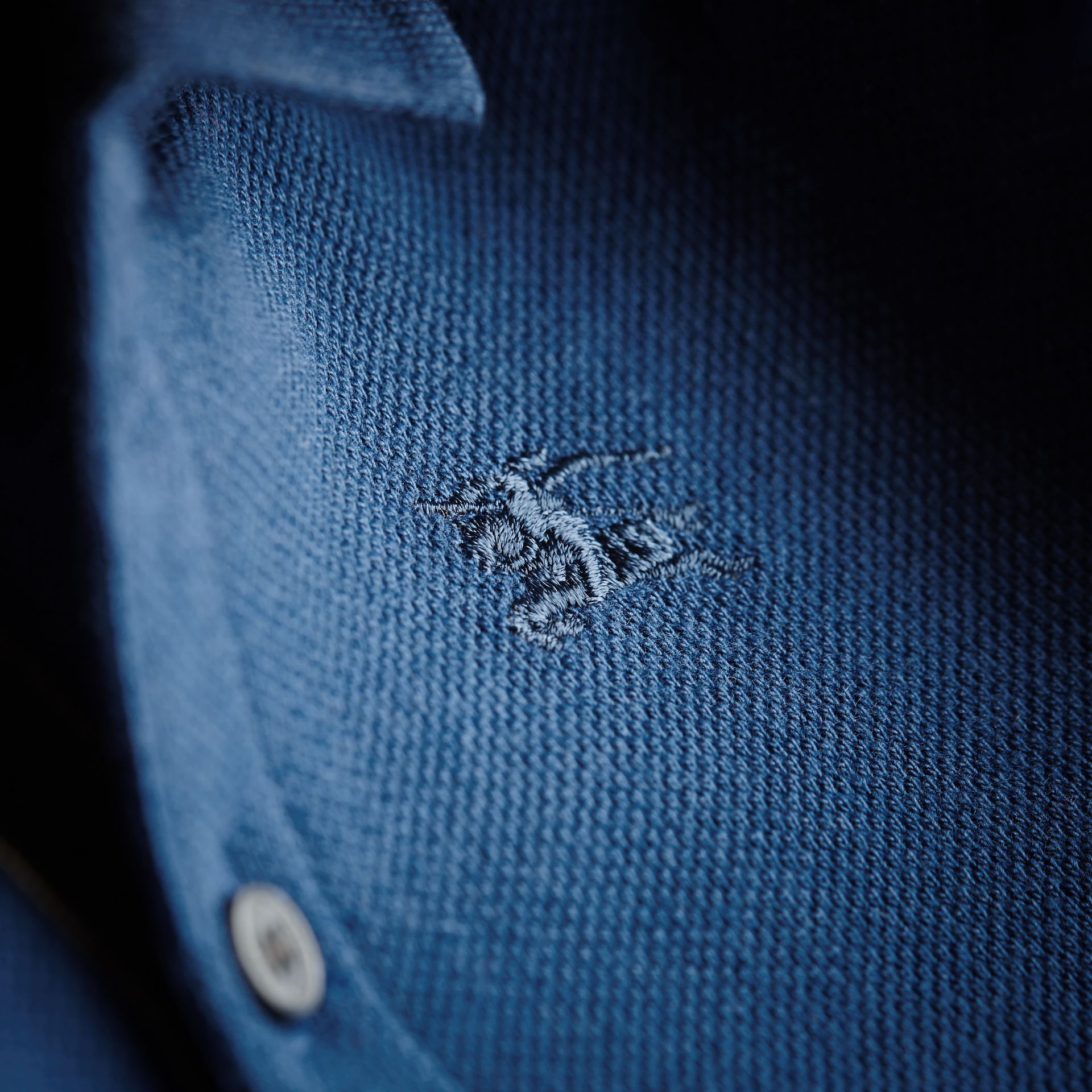 Check Placket Cotton Piqué Polo Shirt in Marine Blue - Children | Burberry Canada - gallery image 2