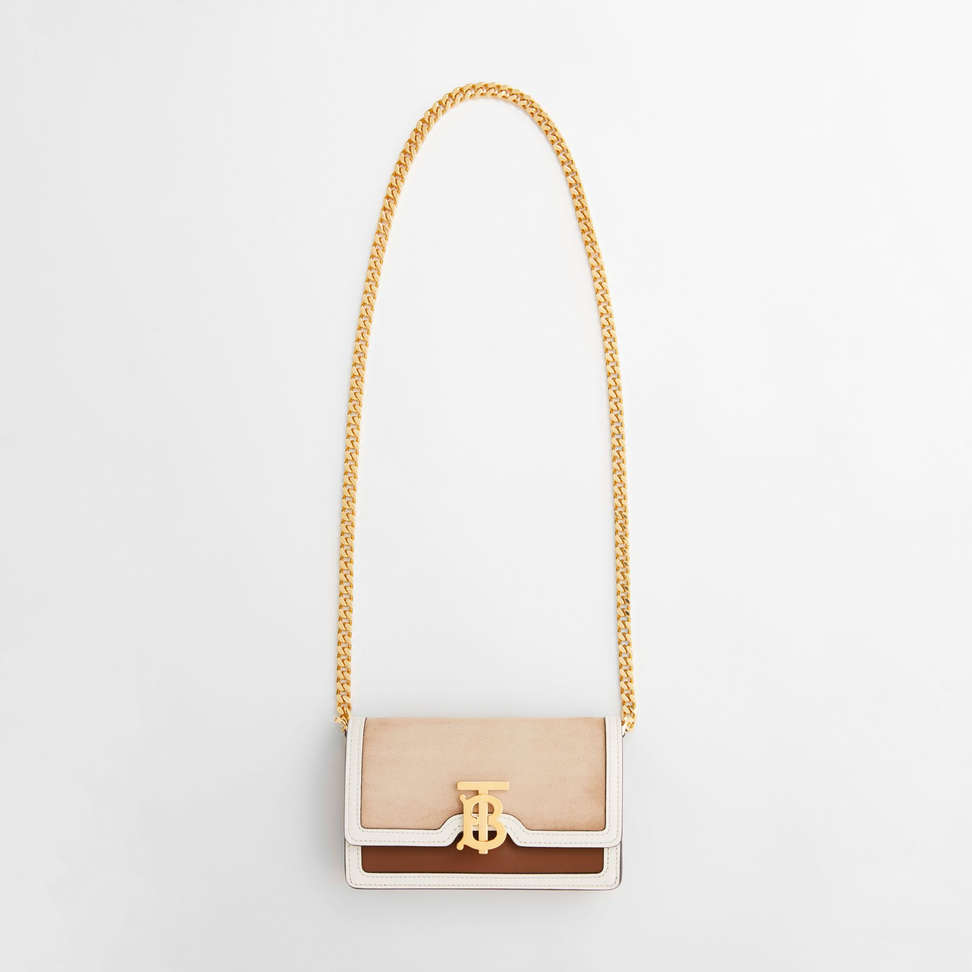 Mini Suede and Two-tone Leather Shoulder Bag in Biscuit - Women | Burberry United Kingdom - gallery image 3