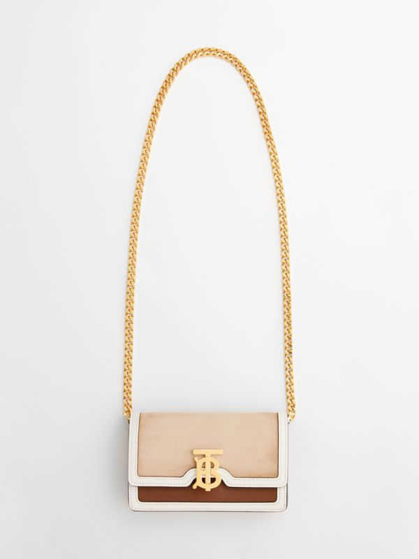 Mini Suede and Two-tone Leather Shoulder Bag in Biscuit - Women | Burberry United Kingdom - cell image 3