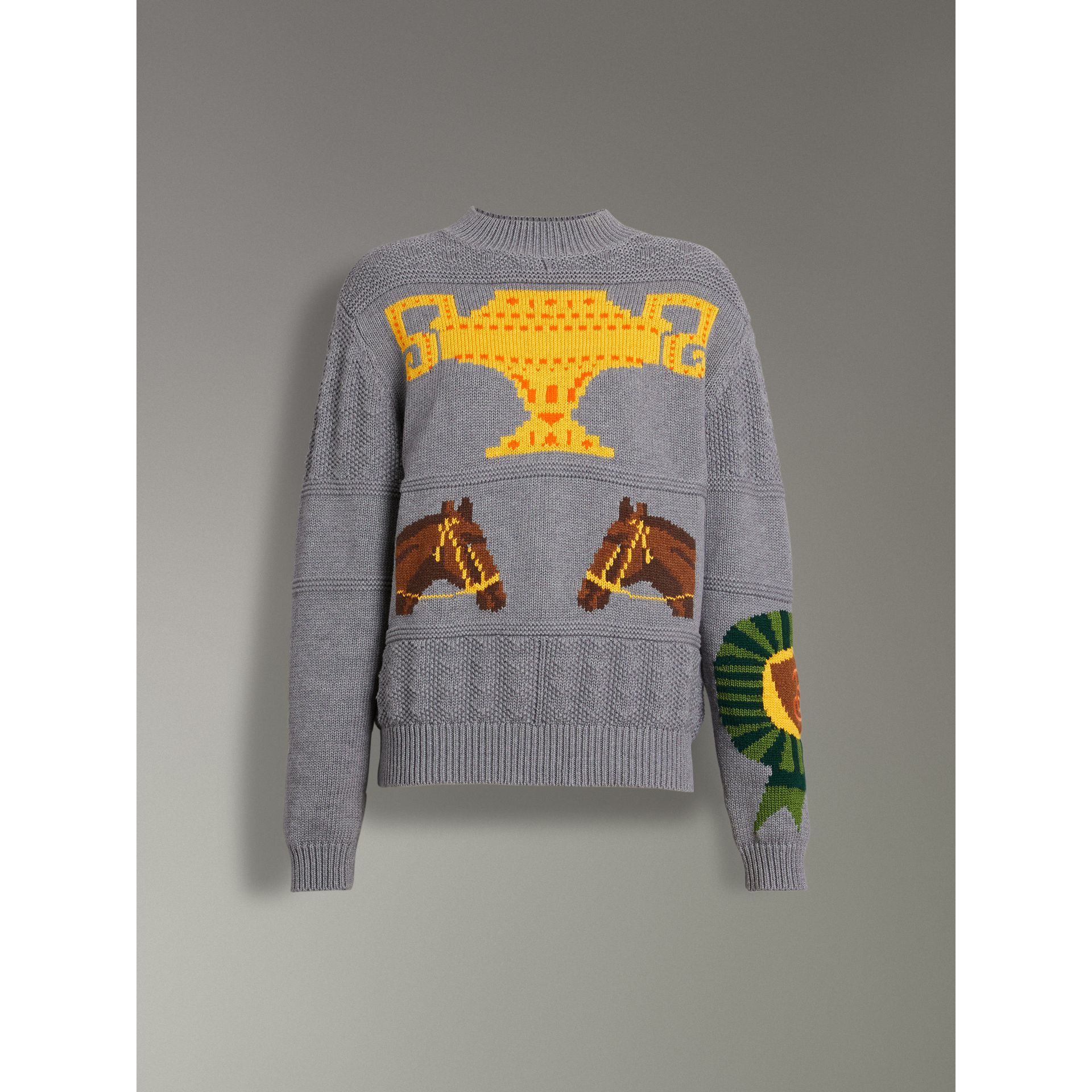Equestrian Intarsia Cotton Wool Sweater in Grey Melange - Women | Burberry - gallery image 3