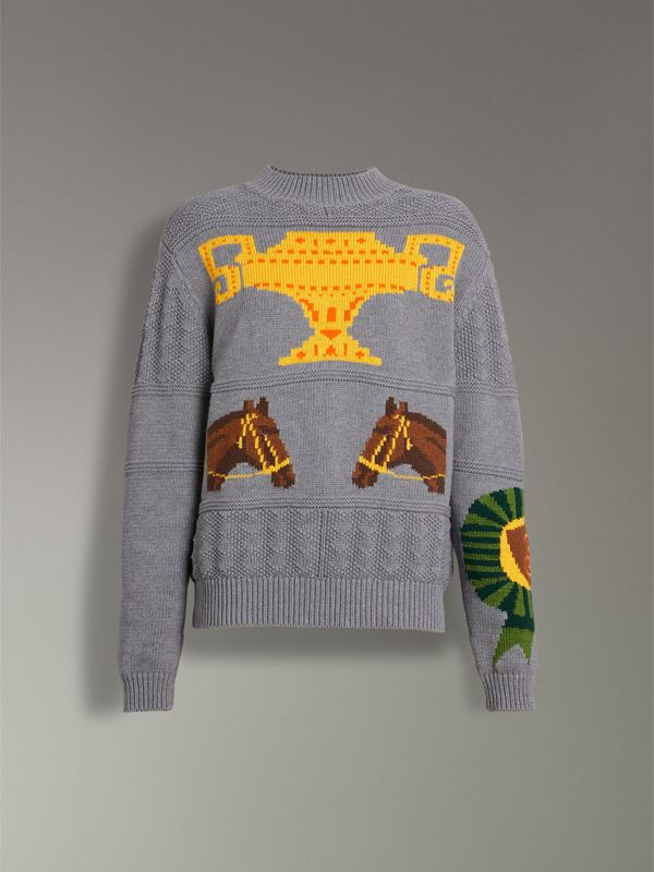 Equestrian Intarsia Cotton Wool Sweater in Grey Melange - Women | Burberry - cell image 3