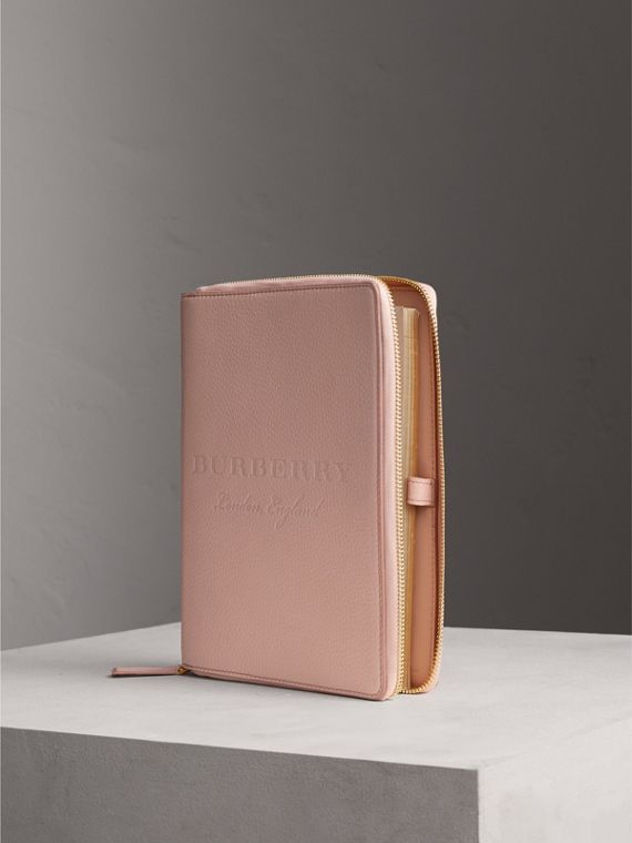 Embossed Leather Ziparound A5 Notebook Case in Pale Ash Rose