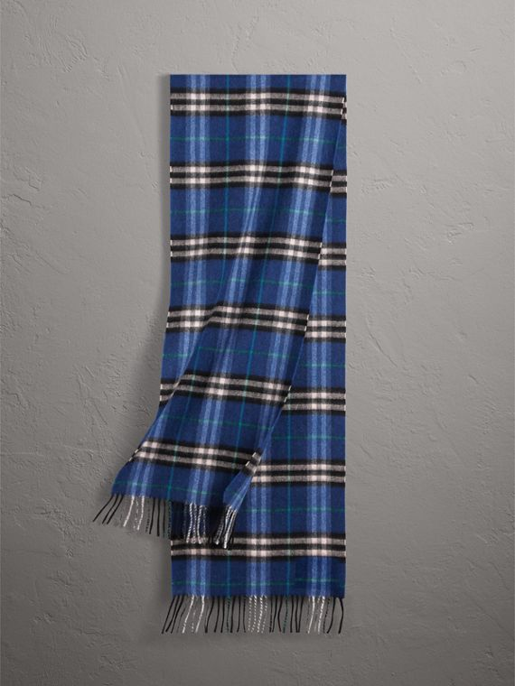 Check Cashmere Scarf in Bright Navy