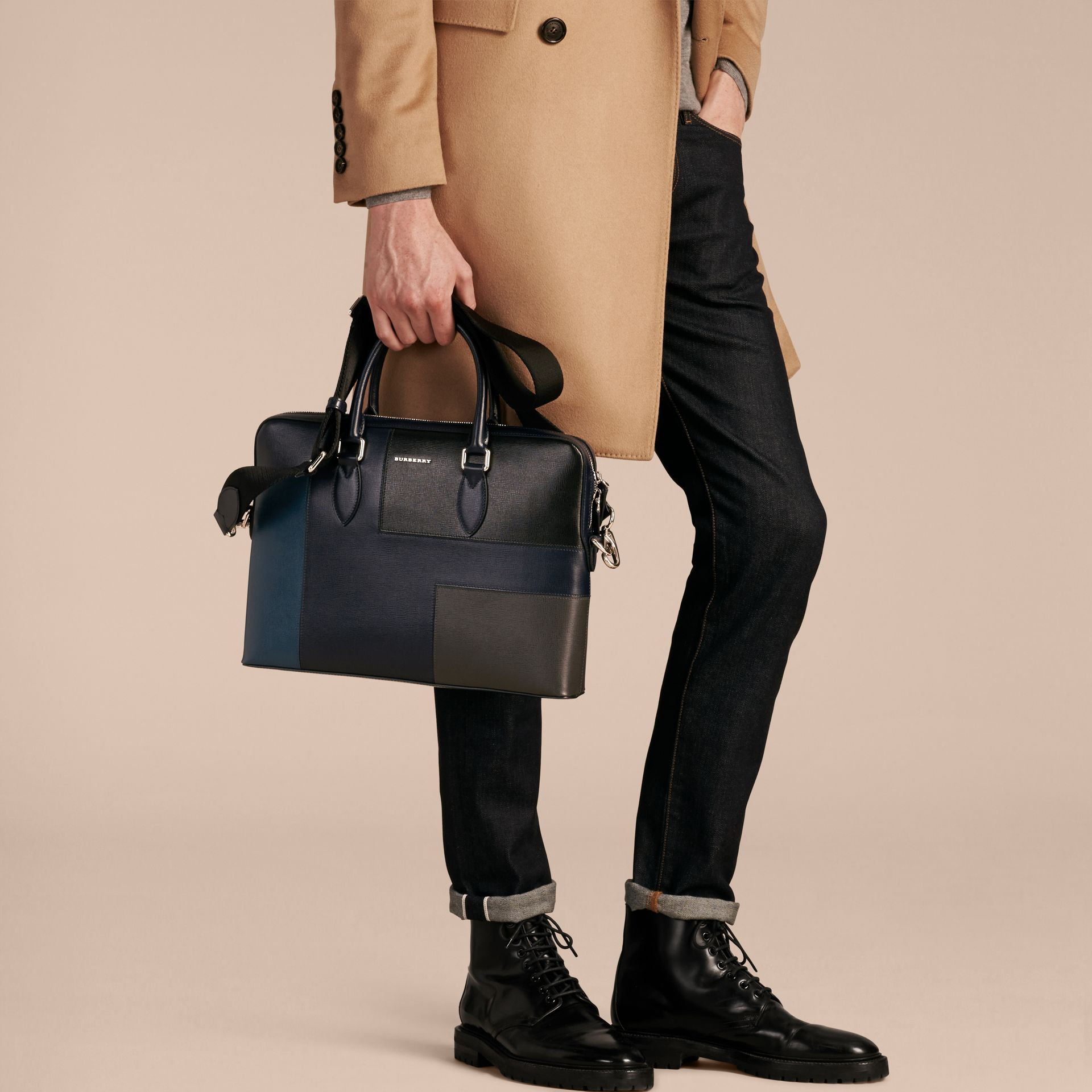Dark navy The Slim Barrow Bag in Patchwork London Leather Dark Navy - gallery image 3