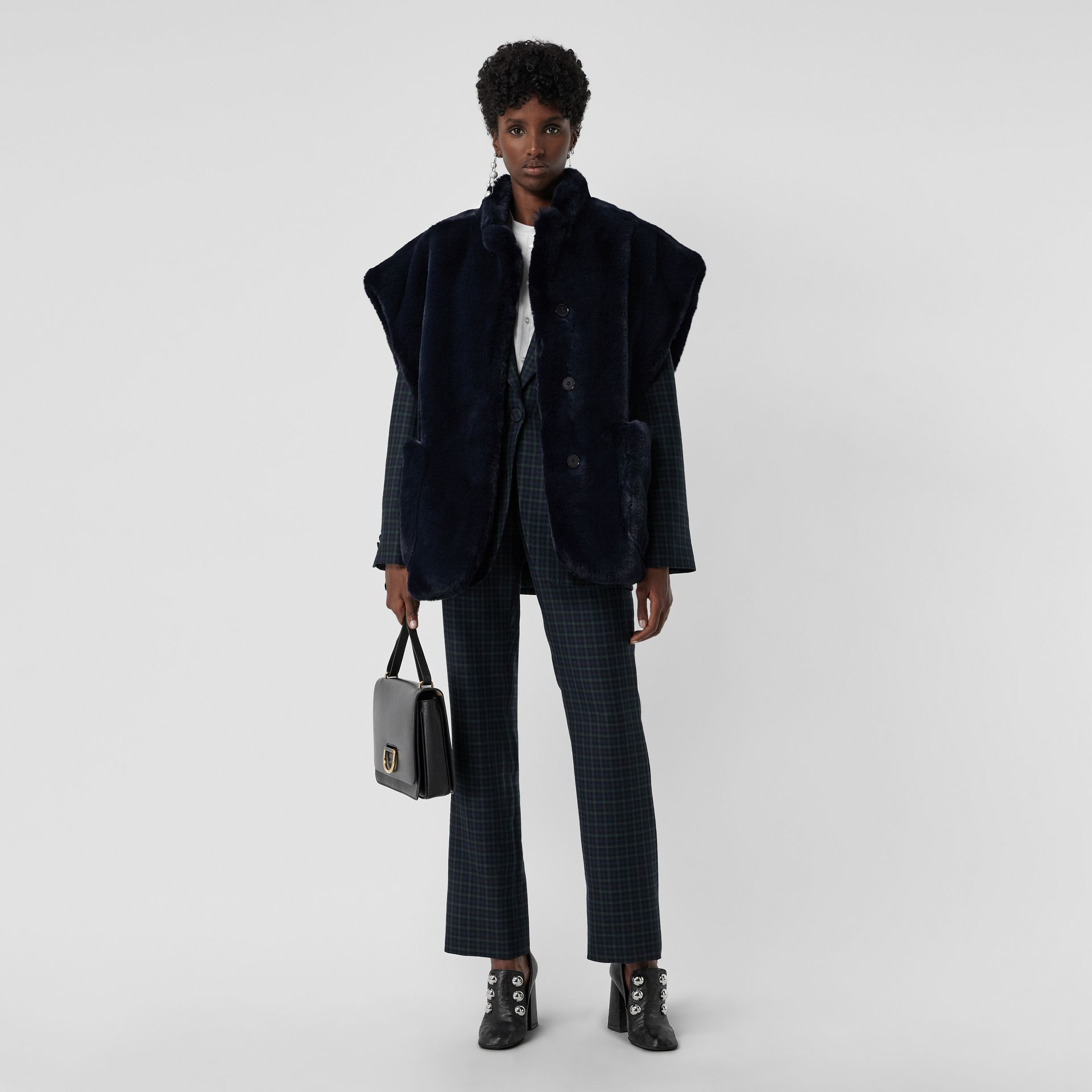 Stand Collar Faux Fur Cape in Navy - Women | Burberry Singapore - gallery image 0