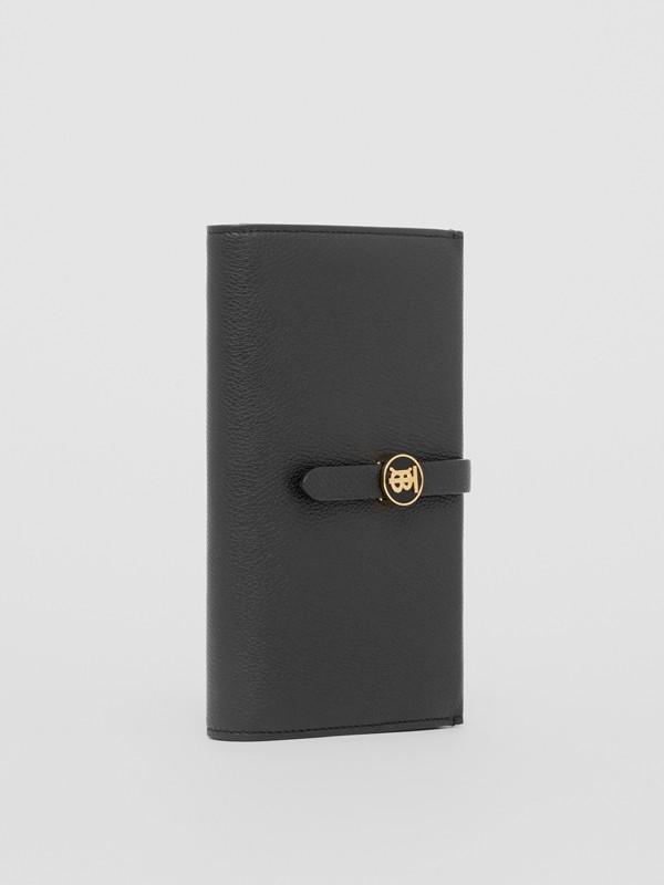 Monogram Motif Grainy Leather Folding Wallet in Black - Women | Burberry - cell image 3