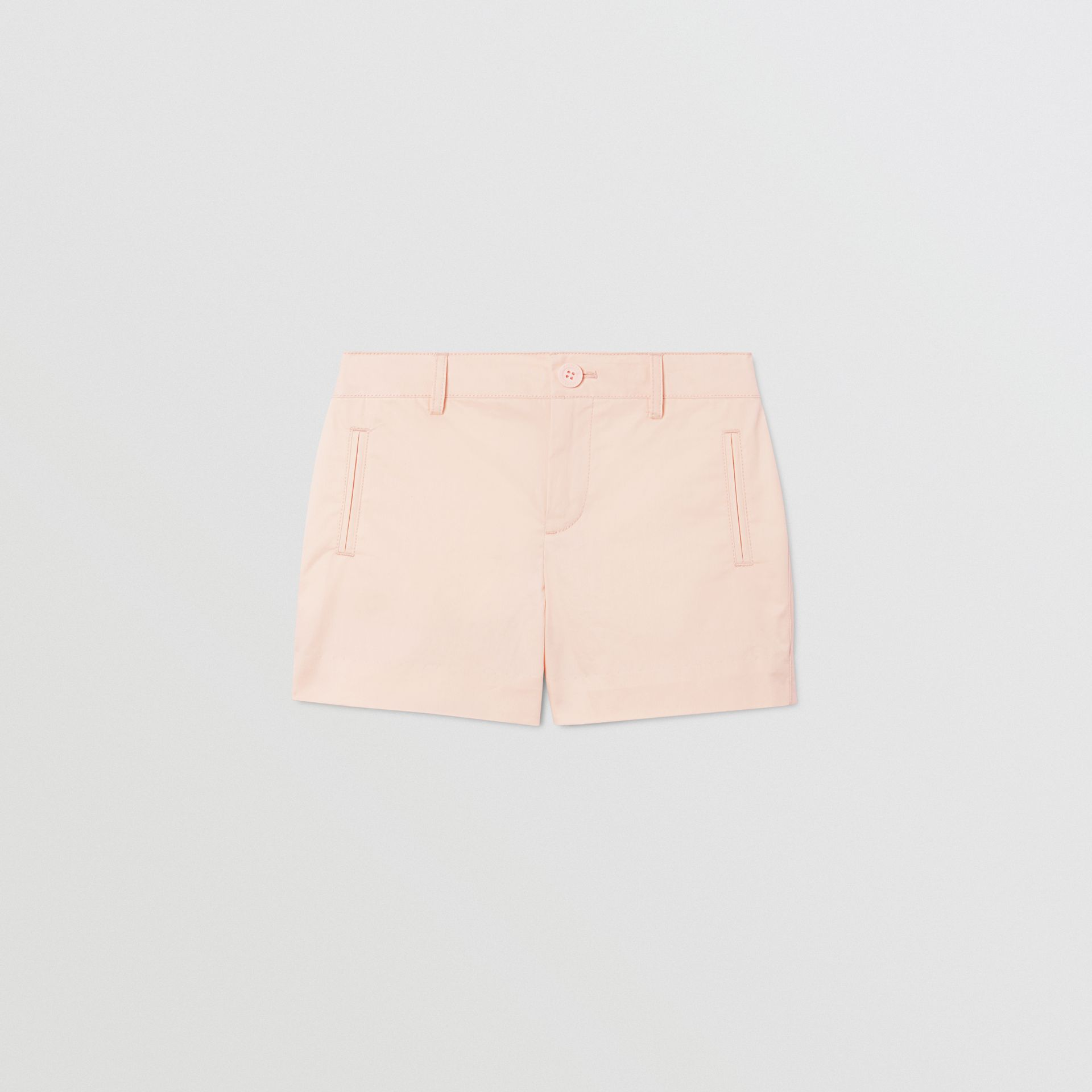 Embroidered Logo Cotton Shorts in Soft Pink   Burberry Australia - gallery image 0