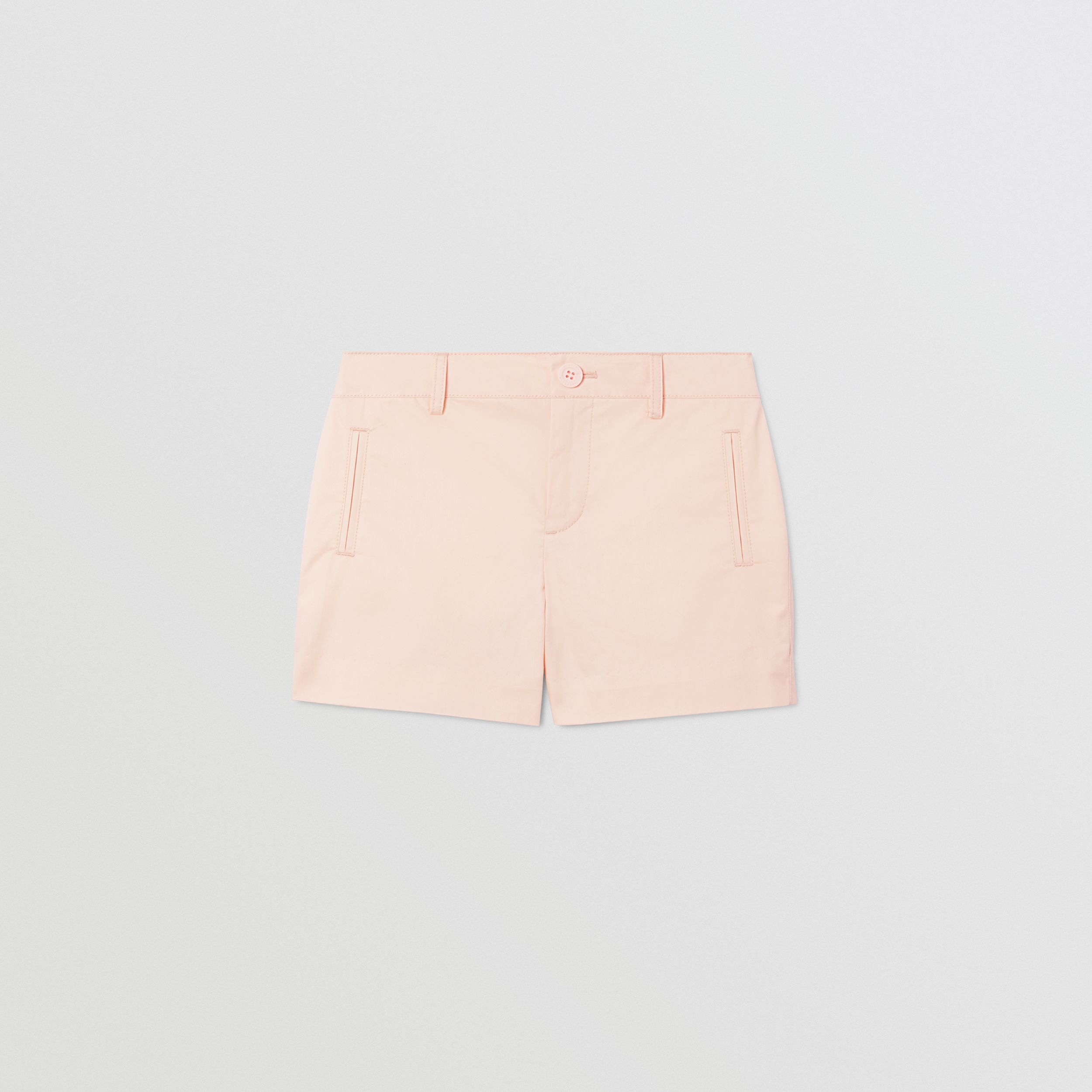 Embroidered Logo Cotton Shorts in Soft Pink | Burberry - 1