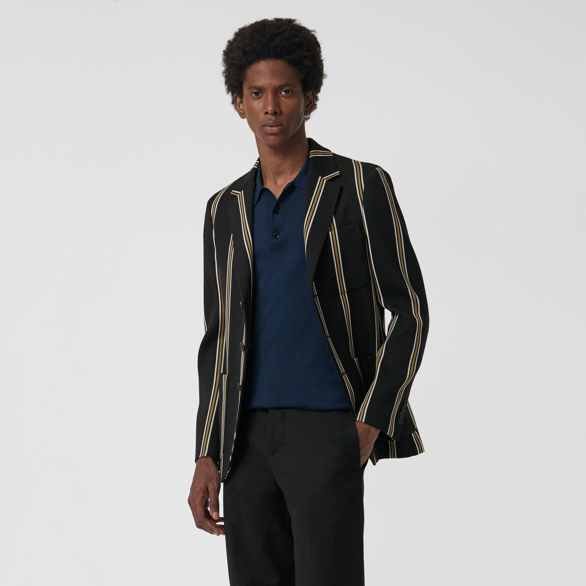 Striped Wool Blend Club Blazer in Black - Men | Burberry - gallery image 4