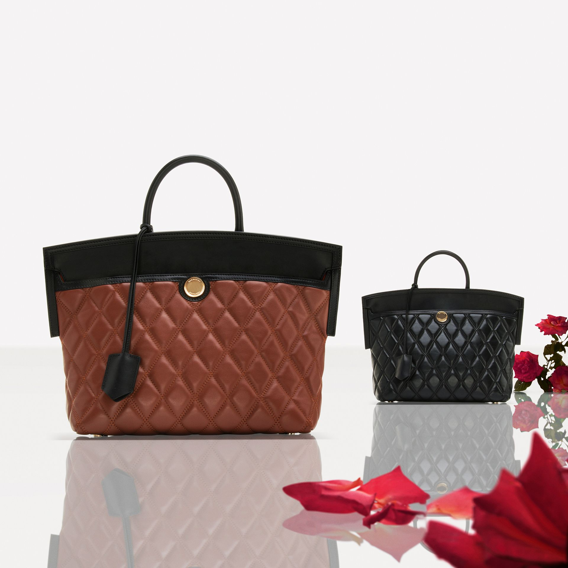 Small Quilted Lambskin Society Top Handle Bag in Tan - Women | Burberry United Kingdom - gallery image 1