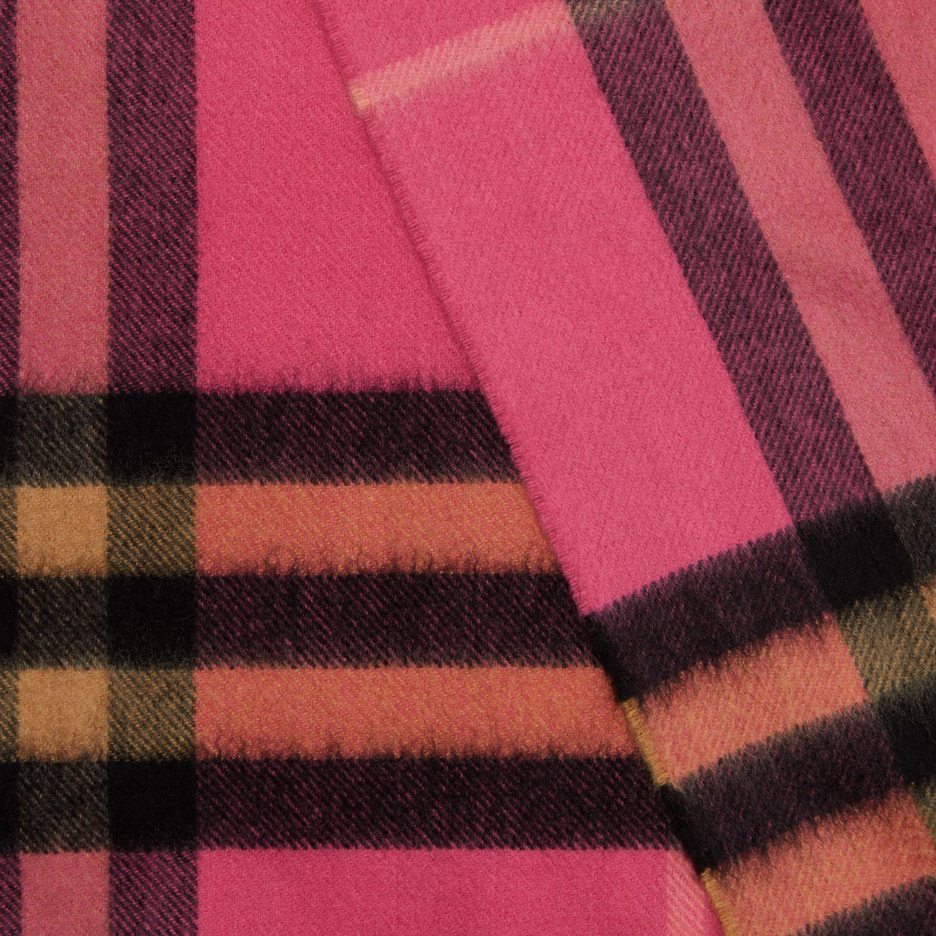 The Classic Check Cashmere Scarf in Bright Rose | Burberry - gallery image 1