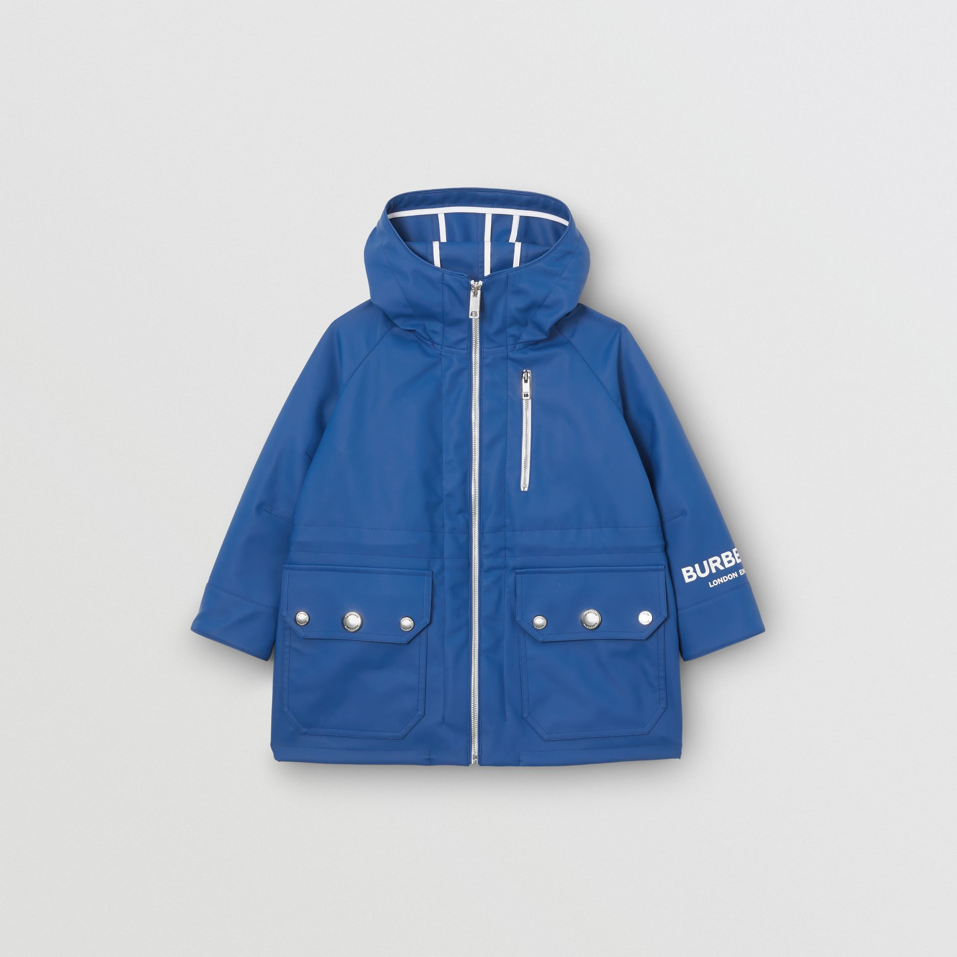 Logo Print Showerproof Hooded Jacket in Imperial Blue - Children | Burberry - gallery image 0