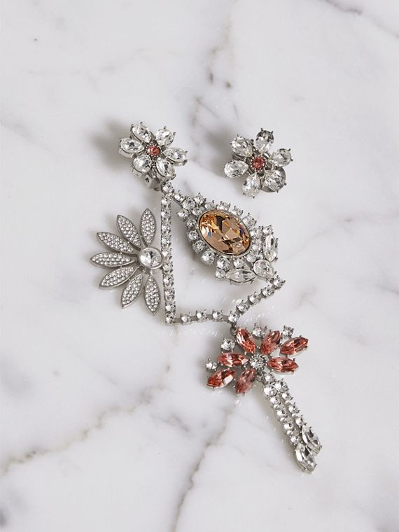 Crystal Daisy Chandelier Earring and Stud Set in Rose