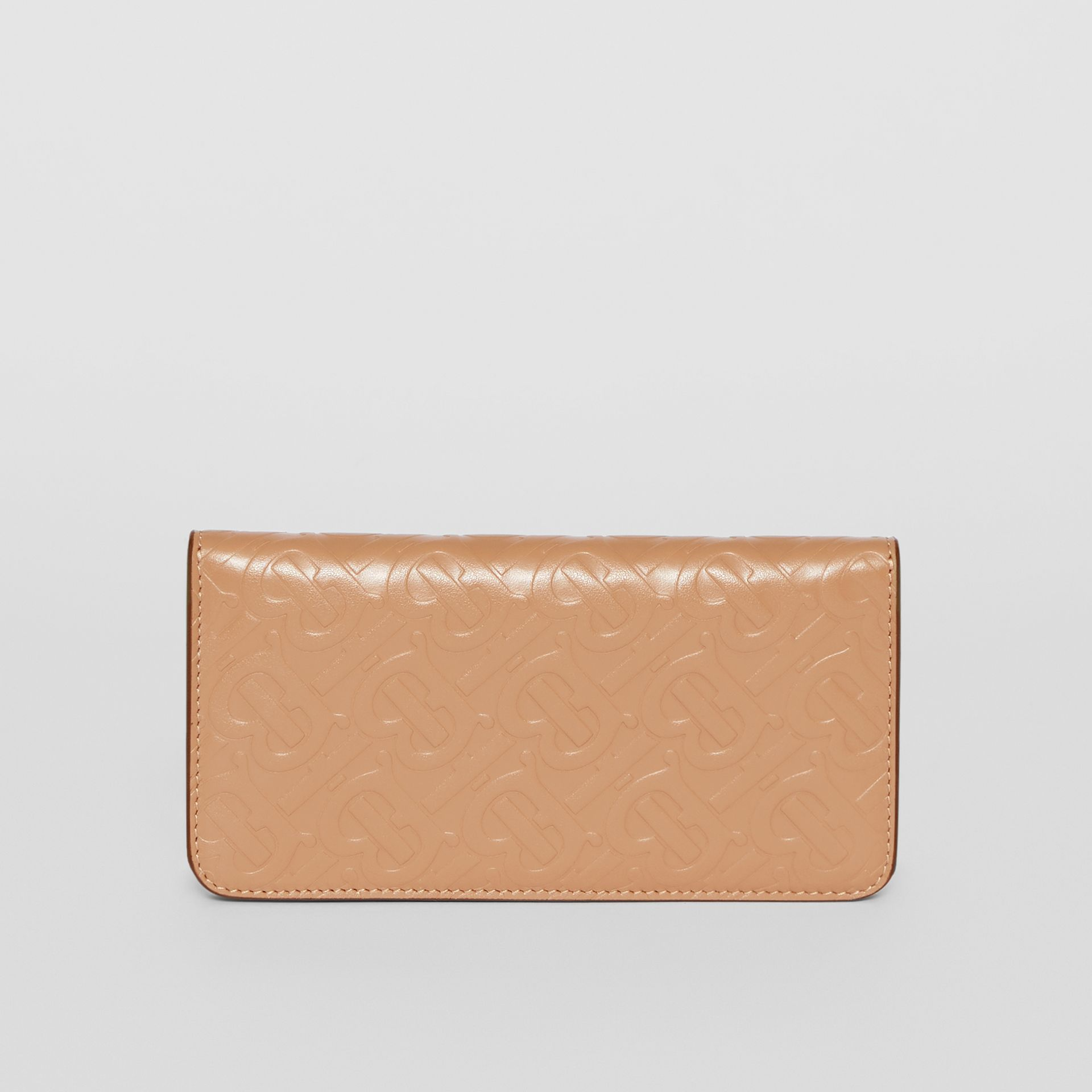 Monogram Leather Phone Wallet in Light Camel - Women | Burberry United Kingdom - gallery image 5