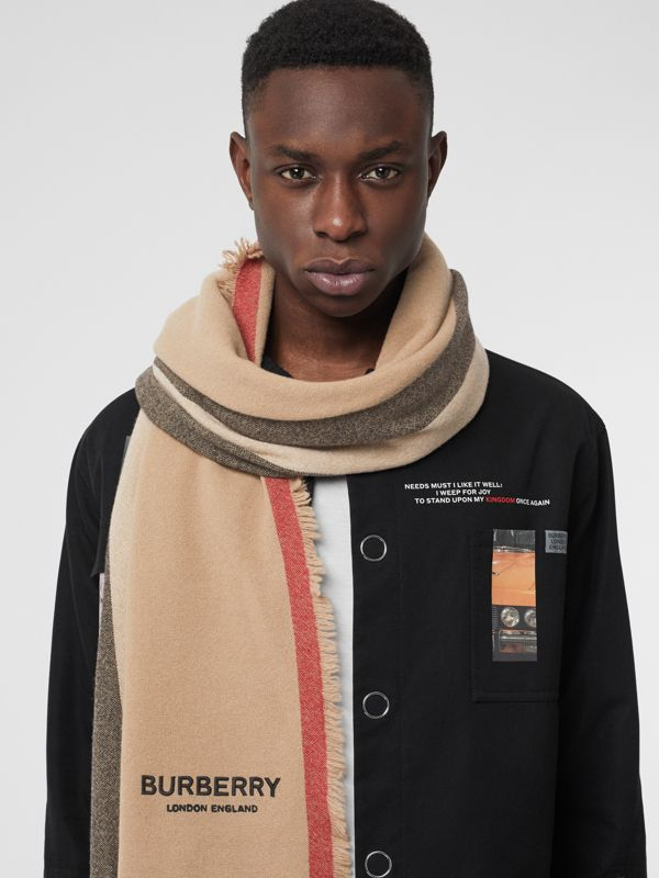 Icon Stripe Wool Cashmere Scarf in Camel | Burberry - cell image 2