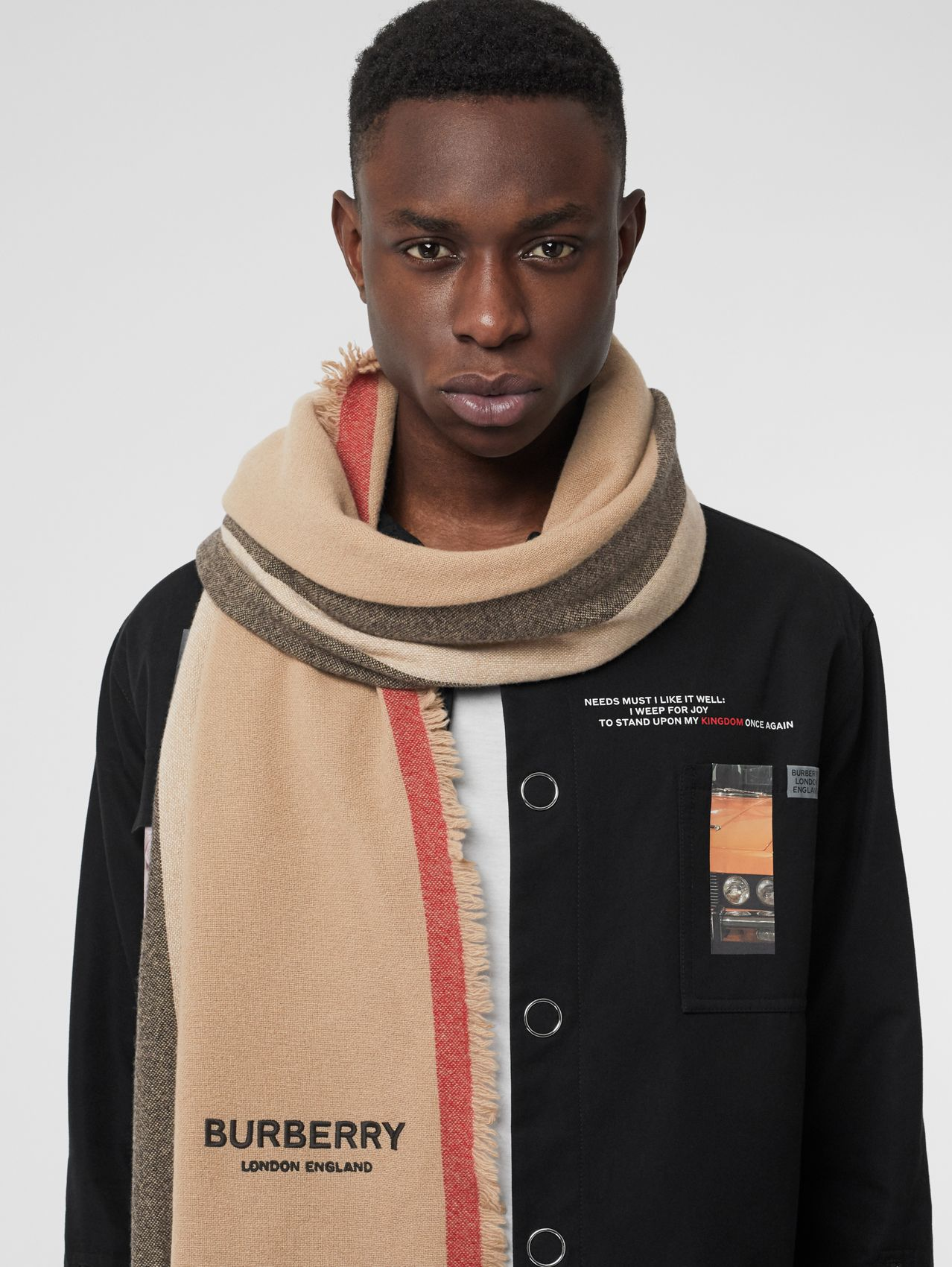 Icon Stripe Wool Cashmere Scarf in Camel