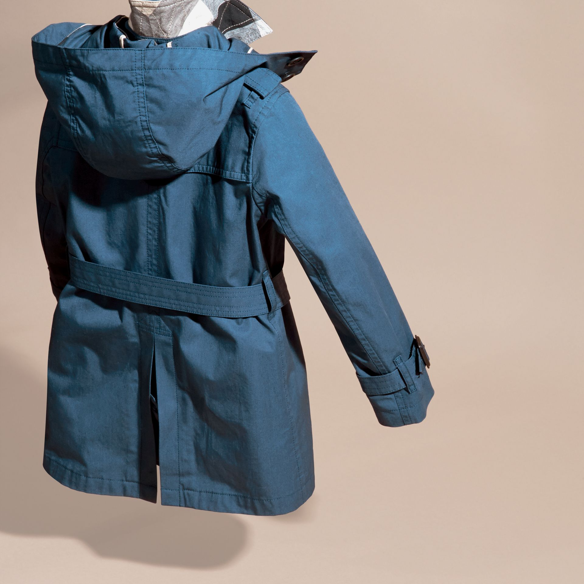 Pale indigo Hooded Cotton Twill Trench Coat Pale Indigo - gallery image 4