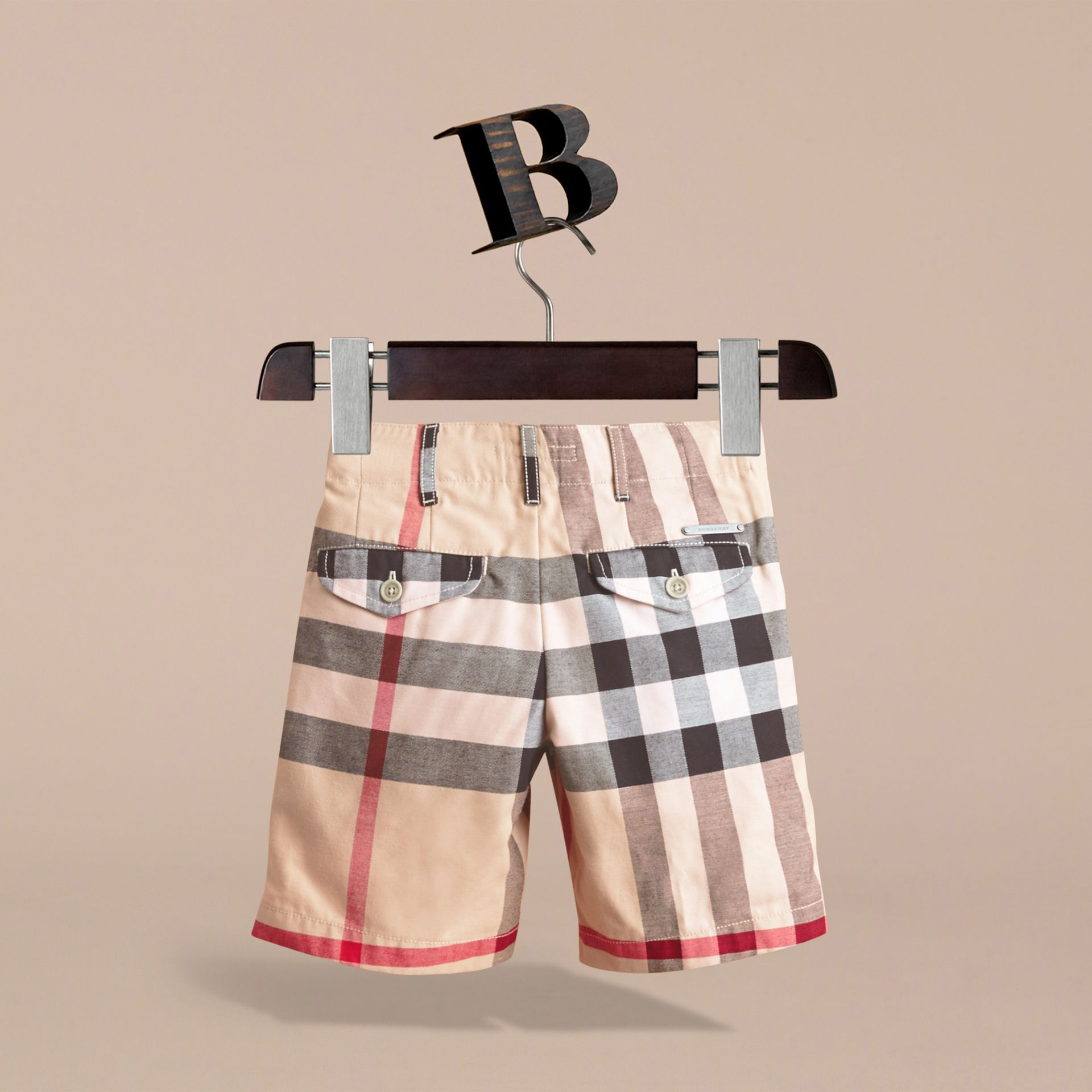 Check Cotton Chino Shorts in Stone - Boy | Burberry Singapore - gallery image 4