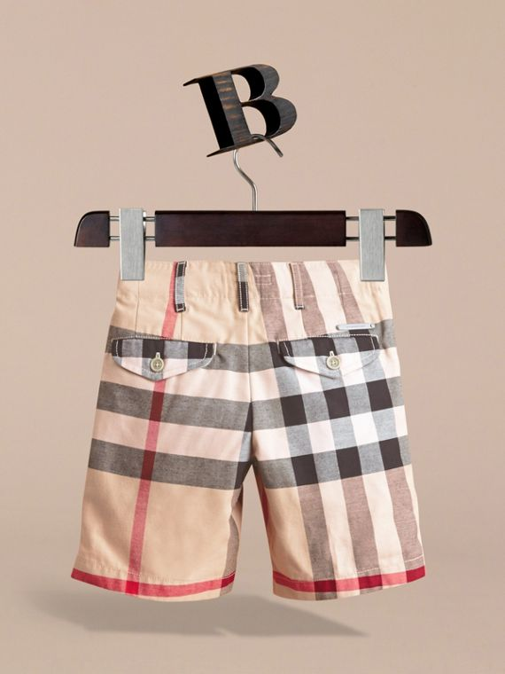 Check Cotton Chino Shorts in Stone - Boy | Burberry Singapore - cell image 3