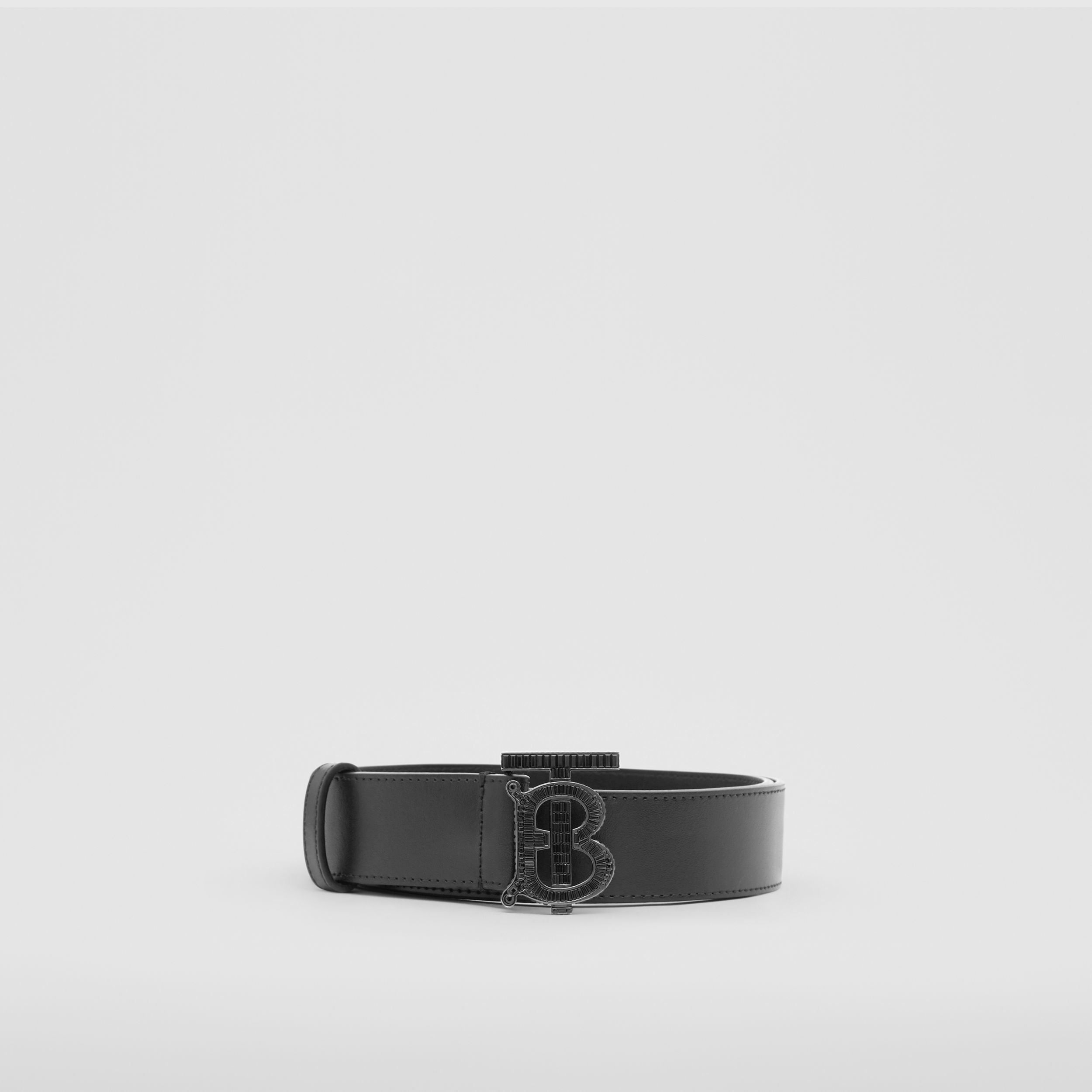 Crystal Monogram Motif Leather Belt in Black - Men | Burberry - 4