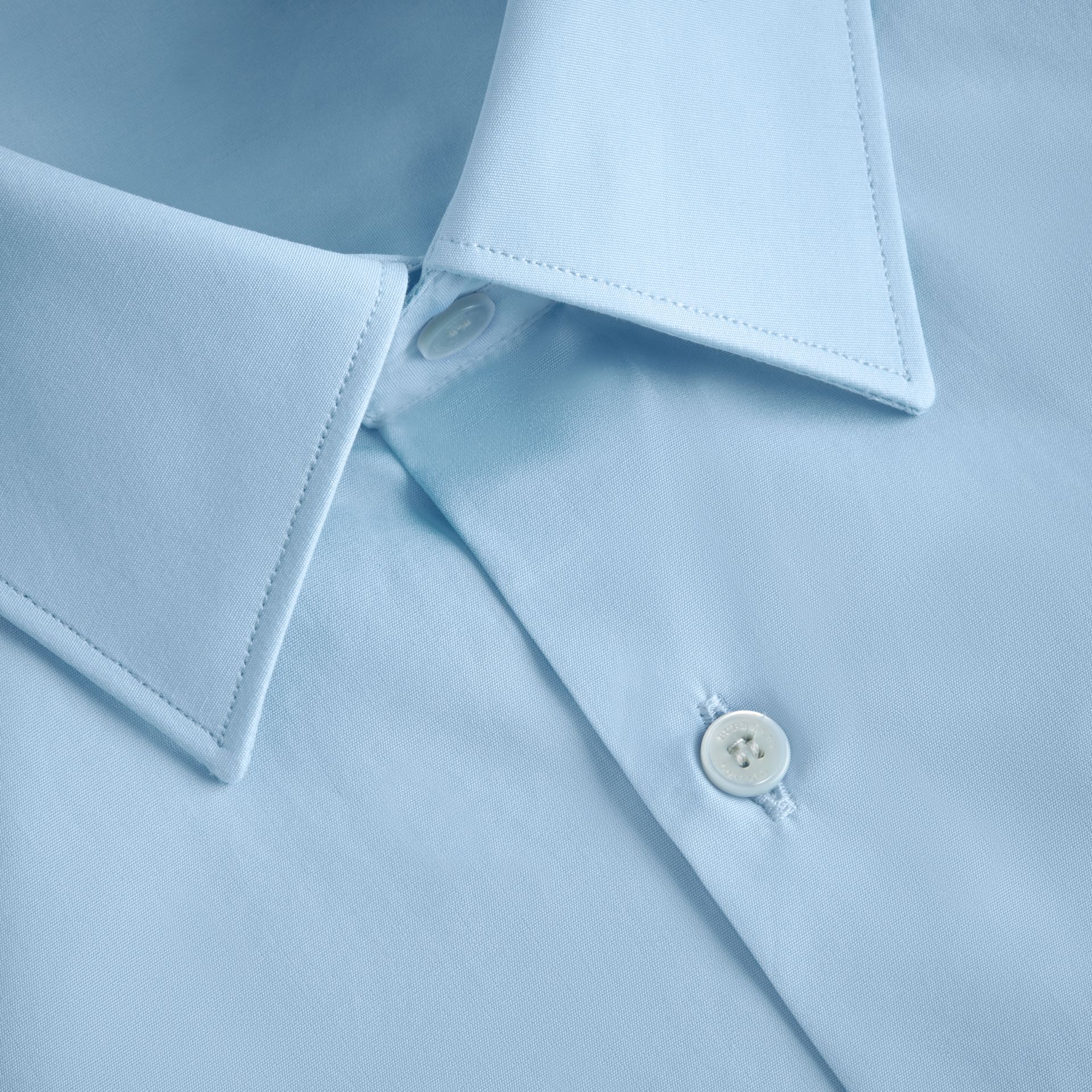 Modern Fit Cotton Poplin Shirt in City Blue - Men | Burberry - gallery image 2
