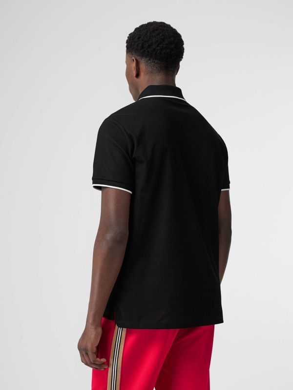 Monogram Motif Tipped Cotton Piqué Polo Shirt in Black - Men | Burberry - cell image 2