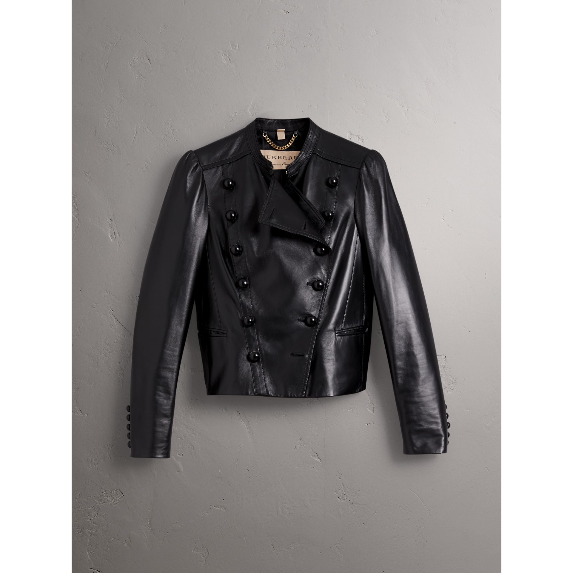 Lambskin Double-breasted Jacket in Black - Women | Burberry - gallery image 4
