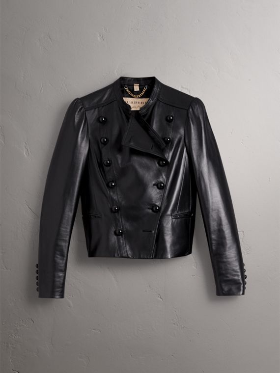 Lambskin Double-breasted Jacket in Black - Women | Burberry - cell image 3