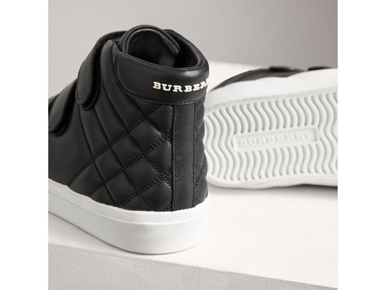 Check-quilted Leather High-top Sneakers in Black | Burberry Canada - cell image 1