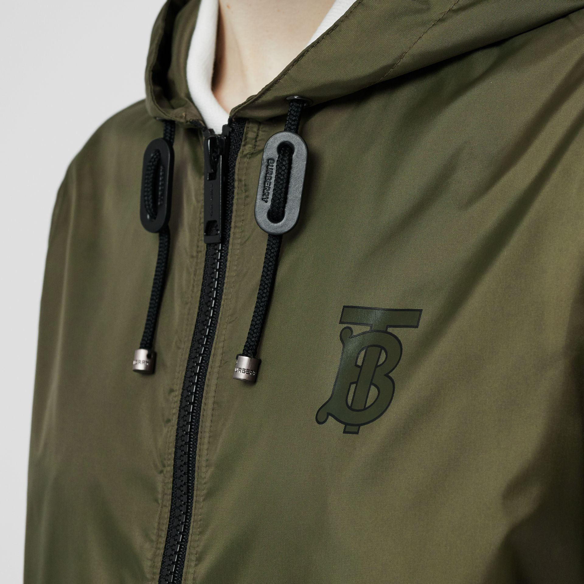 Monogram Motif Lightweight Hooded Jacket in Light Olive - Women | Burberry United States - gallery image 4