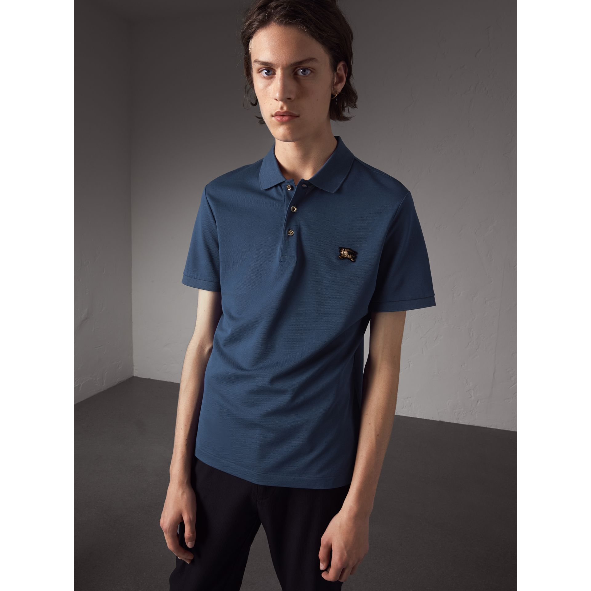 Cotton Piqué Polo Shirt in Steel Blue - Men | Burberry - gallery image 0