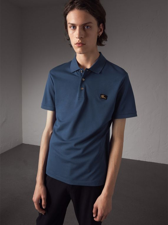 Cotton Piqué Polo Shirt in Steel Blue - Men | Burberry
