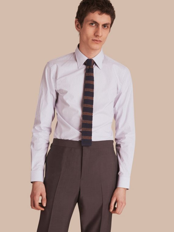 Slim Fit Striped Geometric Dobby Cotton Shirt in Pale Navy