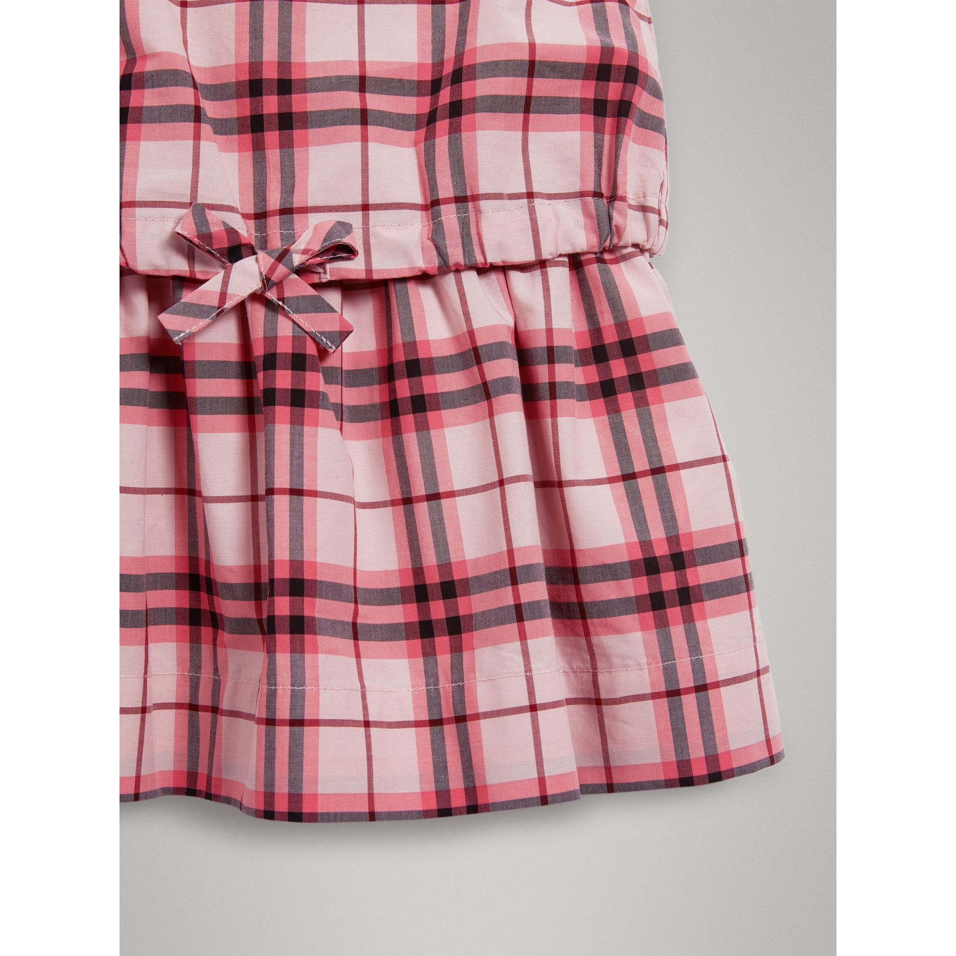 Gathered Check Cotton Dress in Bright Rose | Burberry - gallery image 4