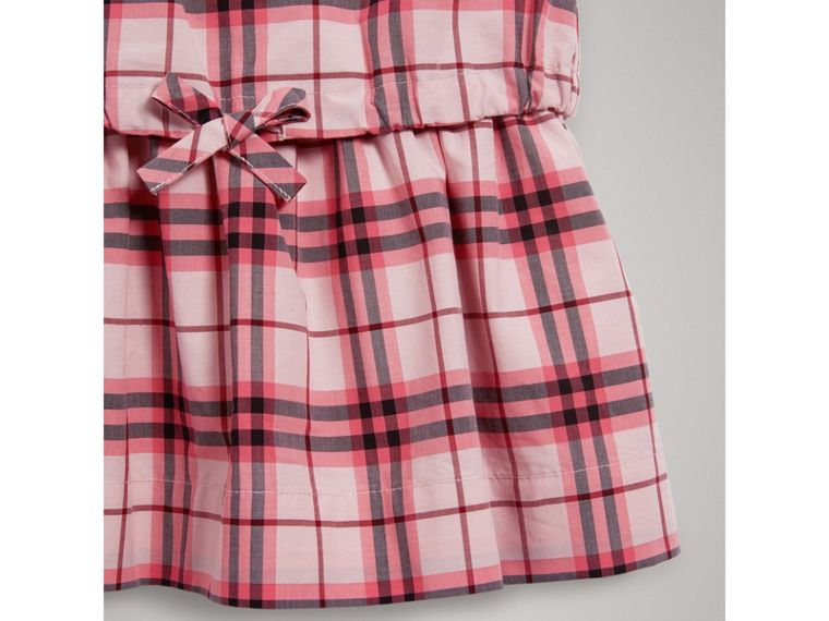 Gathered Check Cotton Dress in Bright Rose | Burberry - cell image 4