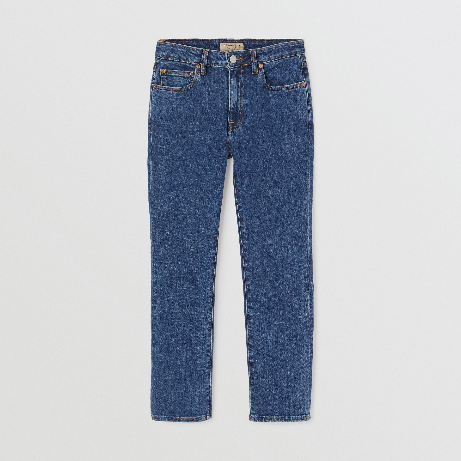 Straight Fit Japanese Denim Jeans in Blue - Women | Burberry United Kingdom - gallery image 3