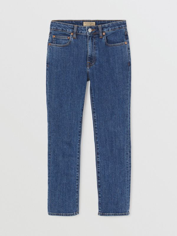 Straight Fit Japanese Denim Jeans in Blue - Women | Burberry - cell image 3