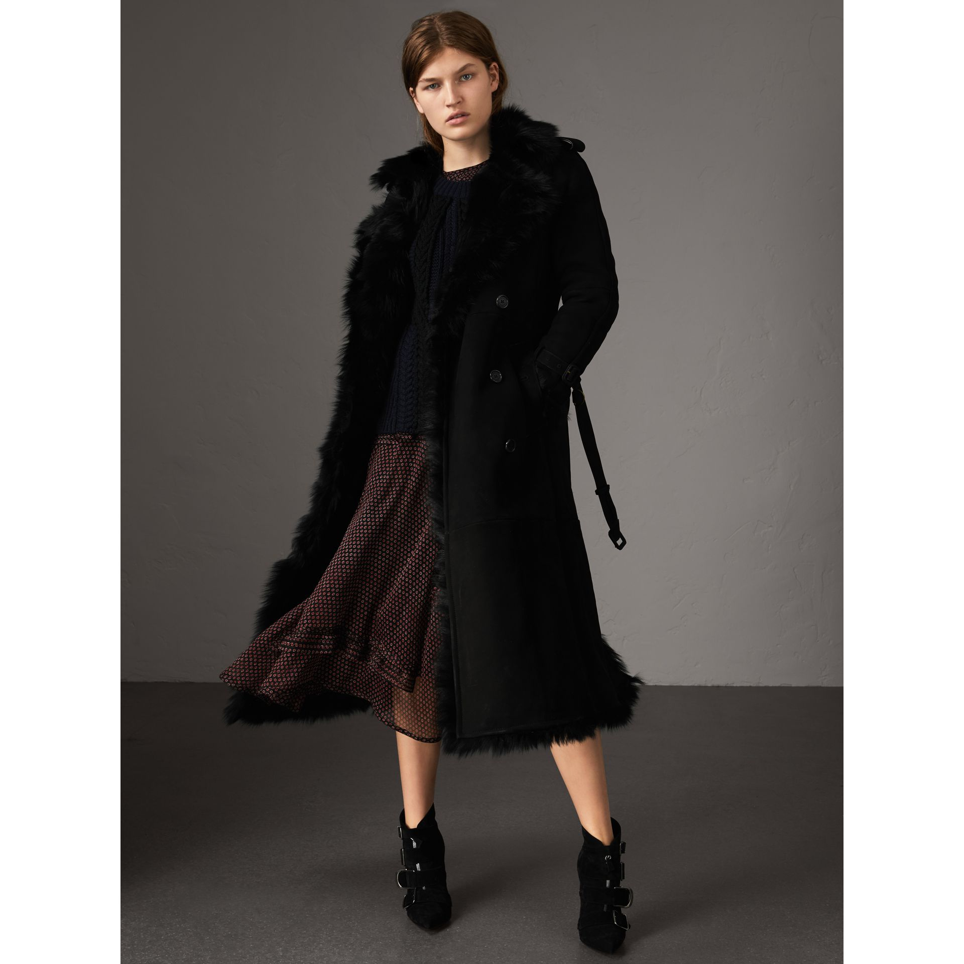 Shearling Long Trench Coat in Black - Women | Burberry - gallery image 0