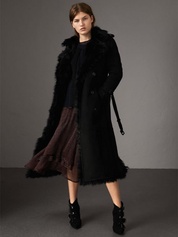Shearling Long Trench Coat in Black