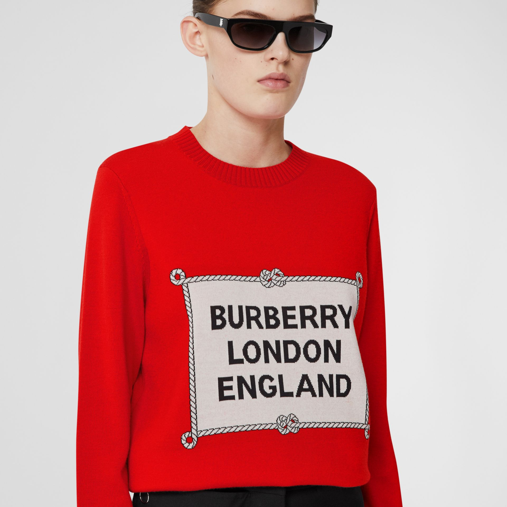 Rigging Intarsia Merino Wool Sweater in Bright Red - Women | Burberry United Kingdom - gallery image 1