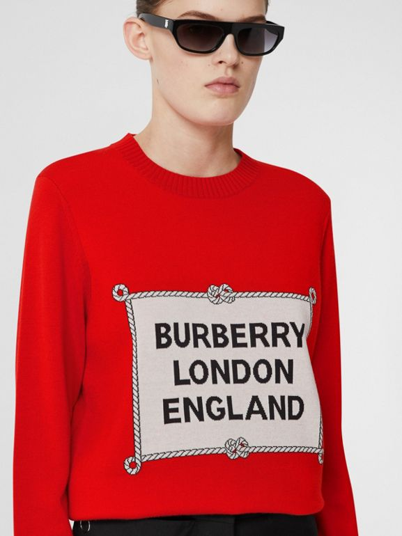 Rigging Intarsia Merino Wool Sweater in Bright Red - Women | Burberry United Kingdom - cell image 1