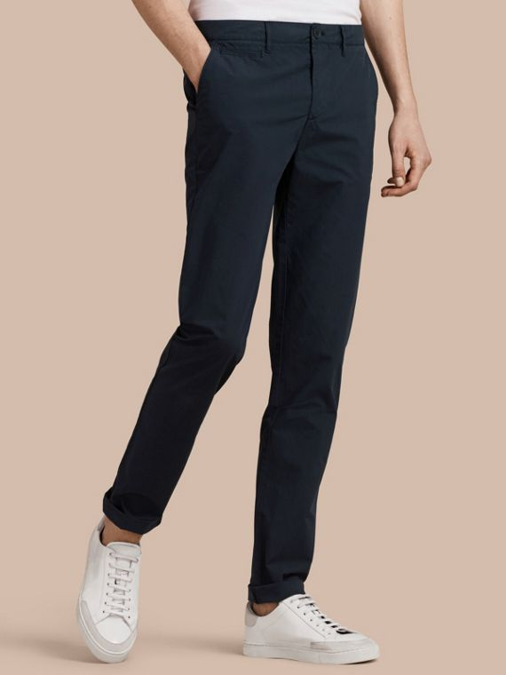 Slim Fit Cotton Poplin Chinos Indigo