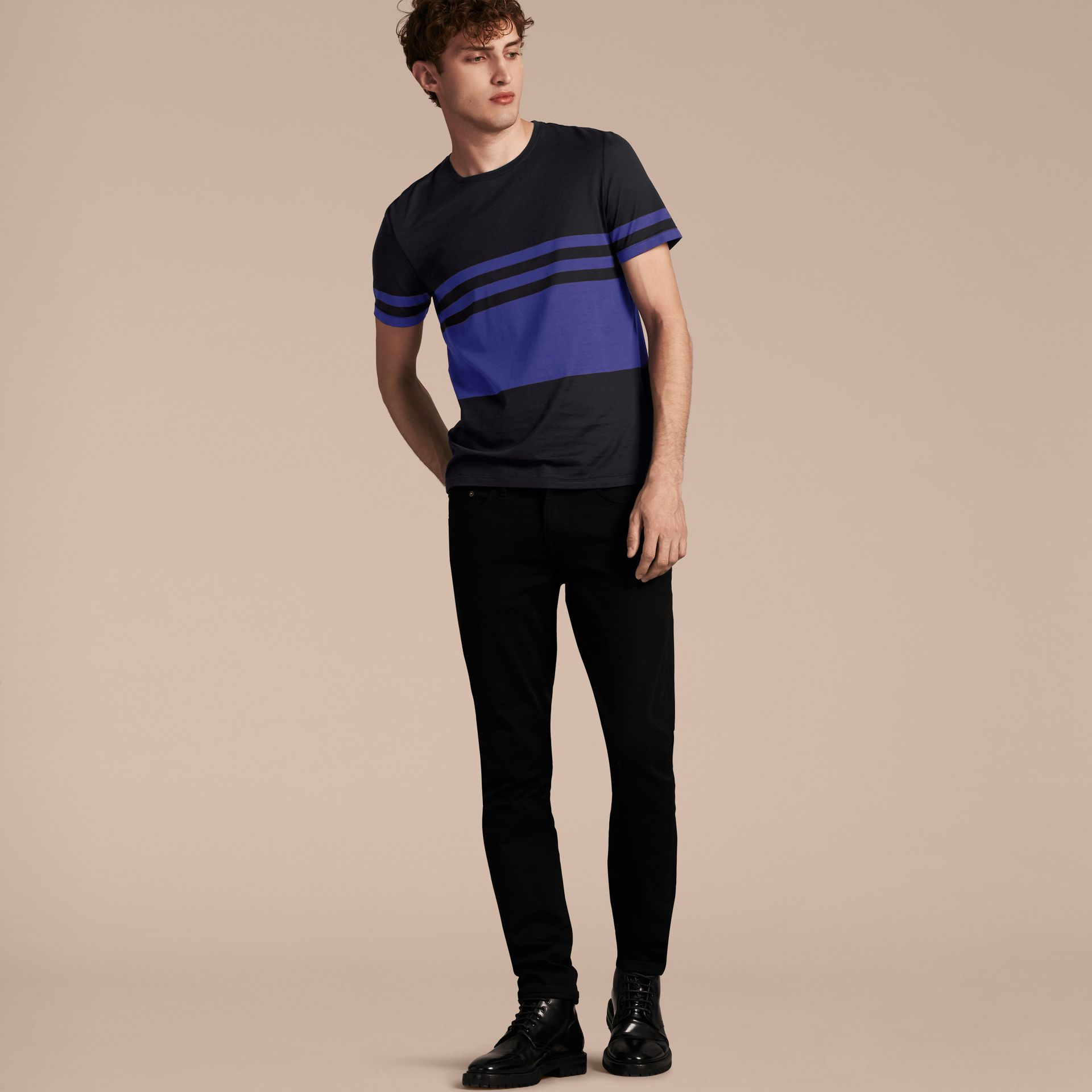 Navy Stripe Print Cotton T-shirt Navy - gallery image 6
