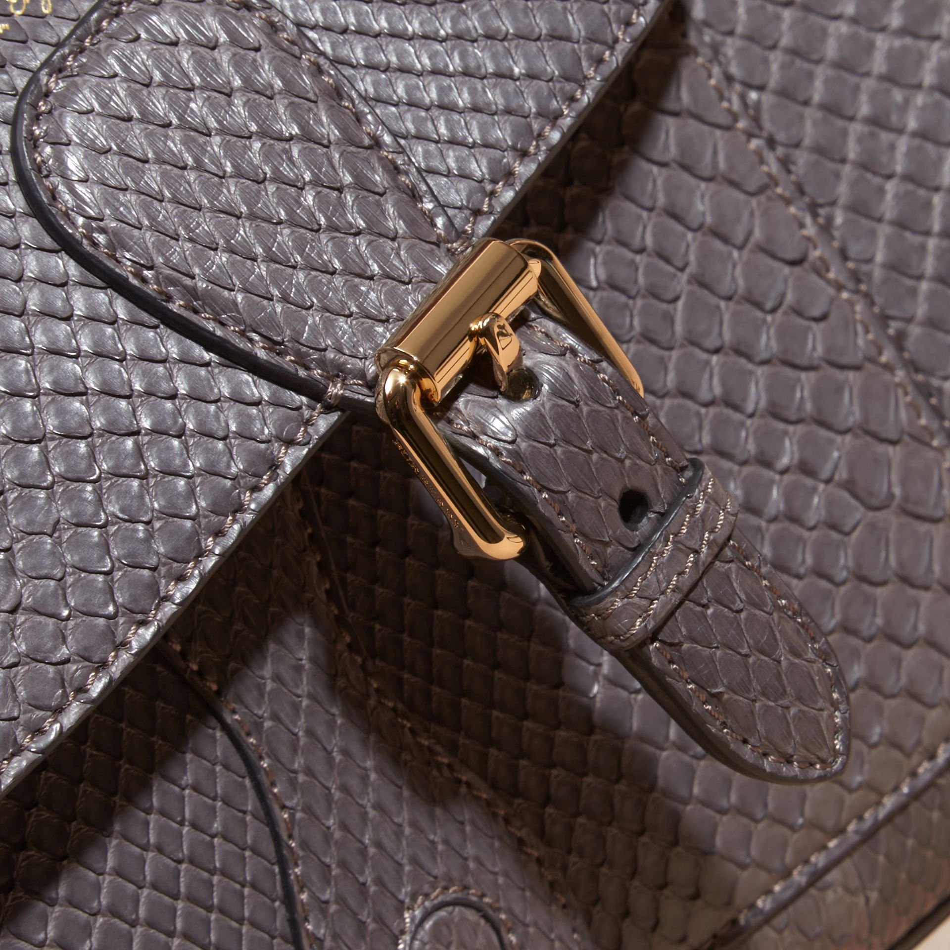 Gris sépia Clutch The Saddle en python - photo de la galerie 7